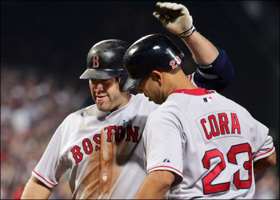 Red Sox hitter Kevin Youkilis (L) is congratulated by teammate Alex Cora after a two-run home run off of Atlanta Braves relief pitcher Chad Paronto in the eighth inning of their MLB interleague baseball game in Atlanta, Georgia, June 18, 2006.