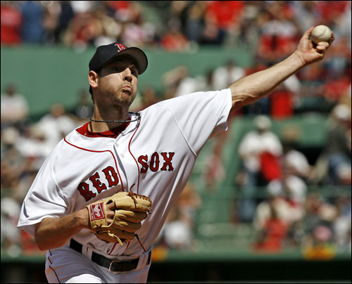 Boston Red Sox's Lenny DiNardo delivers a pitch to Baltimore Orioles' Melvin Mora during the first inning of MLB baseball at Fenway Park in Boston, Sunday, May 7, 2006. DiNardo gave up two hits and two runs over five innings.