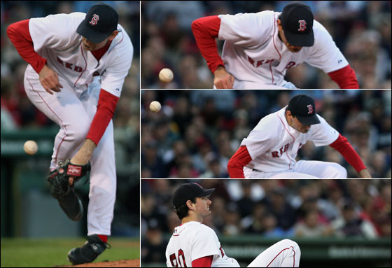 Red Sox starting pitcher Matt Clement, who last season was hit by a line drive, had another scary moment in the second inning when a shot off the bat of the Yankees Bernie Williams struck him. He is shown in a three picture sequence as the ball bounces off of him. He hit the ground, but got up and remained in the game.