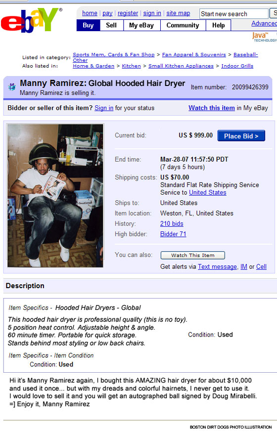 Boston Dirt Dogs: Manny's Back on eBay