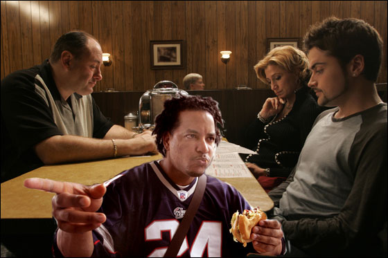 This photo shows actors from The Sopranos James Gandolfini, Edie Falco and Robert Iler waiting to order food in a restaurant in the final scenes from the series finale of the HBO drama television series 'The Sopranos'. The series finale left audiences wondering about the fate of character Tony Soprano.