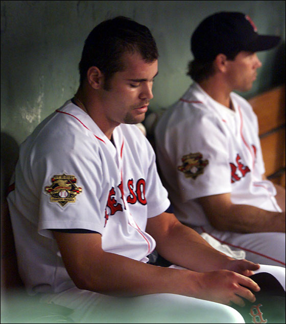 4-24-2001 -- Boston:The night didn't start out too well for Red Sox starter Paxton Crawford, as evidenced by the look on his faceafter he came into the dugout having given up three runs to the Twins in the top of the first inning. He settled down and pitched four scoreless innings after that though and left with a 5-3 lead.