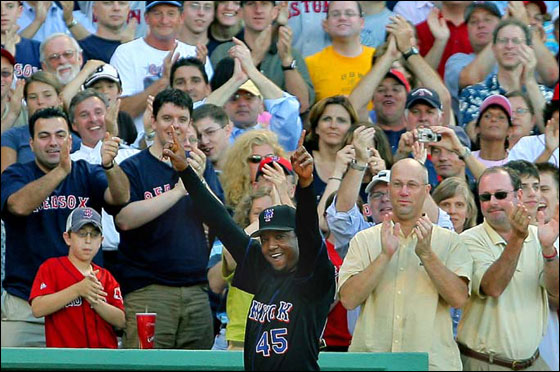 During the Red Sox interleague game vs the New York Mets at Fenway Park, former Boston pitching ace Pedro Martinez, now a member of the Mets, came out of the visitor's dugout after the Sox played a video tribute to him on the center field scoreboard, and the crowd went wild.