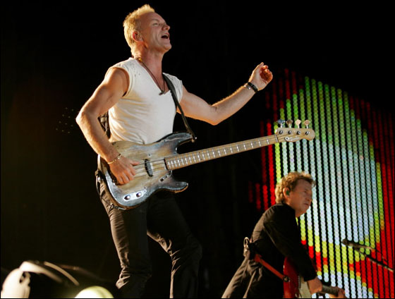Sting and Andy Summers during the Police concert at Fenway Park Saturday evening.