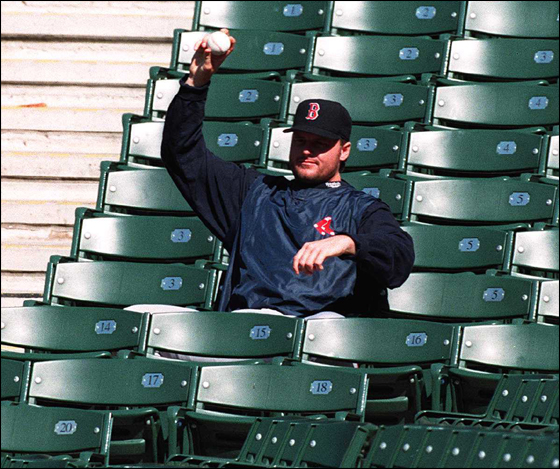 OCTOBER 2, 1995: Red Sox Roger Clemens takes a breatk before workout at Jacobs Field in Cleveland