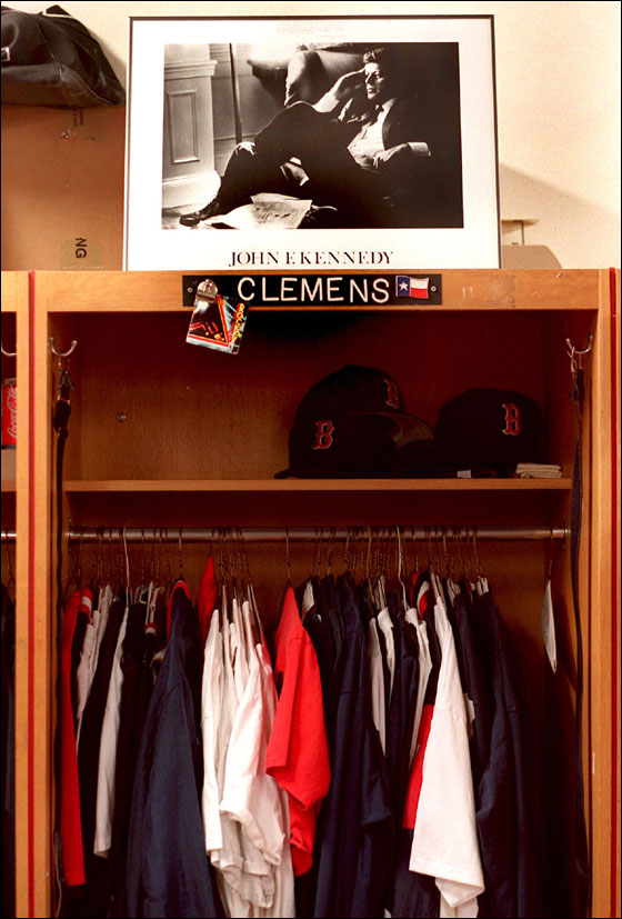 Roger's locker following the last game of the 1995 season.