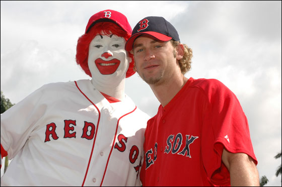 Ronald McDonald and Bronson Arroyo at Spring Training
