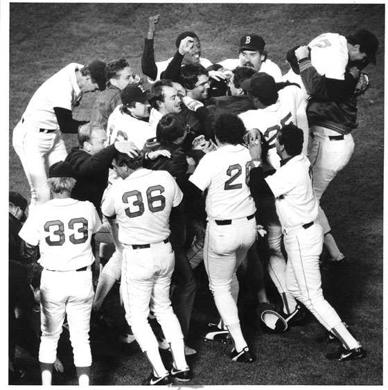 10.15.86, Sox-Angles Game 7 ALCS.  Red Sox players mob pitcher Clavin Schiraldi at the end of game.