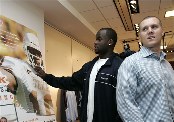 Reebok in Canton welcomed Vince Young at their headquarters today. Vince Young (left) standout from The University of Texas Longhorns, and Jonathan Papelbon of the Red Sox.