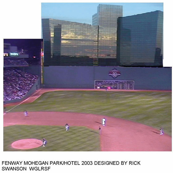 Rick Swanson's idea of a Red Sox Hotel looking over the Mass Pike, 2003