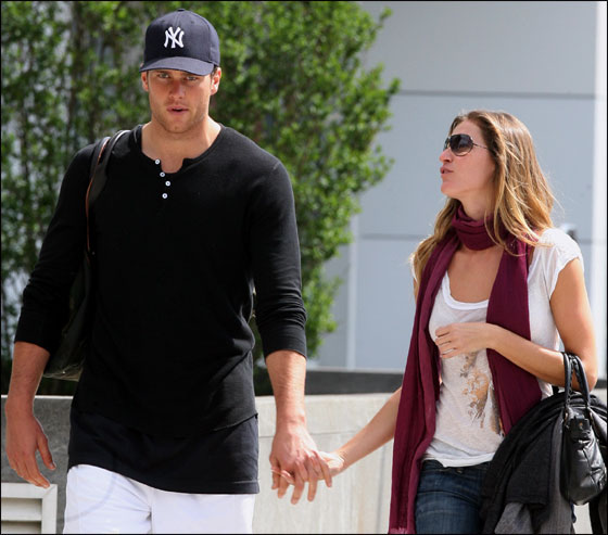 Gisele Bundchen and Tom Brady walking hand in hand in the West Village of New York city Wednesday.