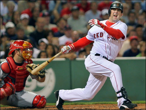 Bad news continued for the Red Sox in the bottom of the third inning. Trot Nixon grimaced in pain as he injured himself on a swinging. Nixon left the game in the middle of the at bat. Wily Mo Pena came in with a 1-2 count and struck out swinging.