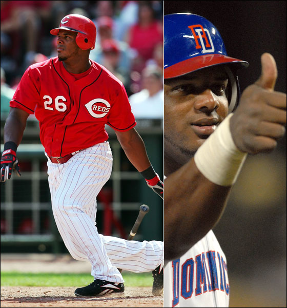 Left: Wily Mo Pena of the Cincinnati Reds hits his second three-run home run of the game against the Arizona Diamondbacks in the eighth inning on August 21, 2005. Right: Wily Mo Pena gives the thumbs up to fans in the second inning during a game between the Dominican Republic and Australia in the World Baseball Classic in Kissimmee, Fla., Friday, March 10, 2006.