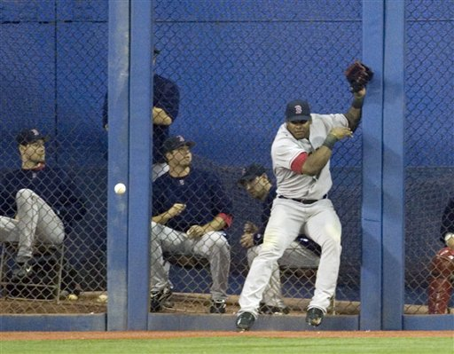 Red Sox right fielder Wily Mo Pena can't handle the ball at the fence on a hit from Toronto Blue Jays' Alex Rios the sixth inning during AL baseball action in Toronto, Sunday, Sept. 24, 2006. The Blue Jays scored two runs on the play, and took the game 13-4.(