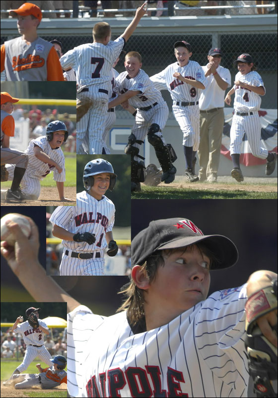 Walpole, Mass. Little League team storms the field in celebration after beating Shelton, Conn., 14-4 to win the New England Regional Championship baseball game, Saturday Aug. 11, 2007 in Bristol, Conn.