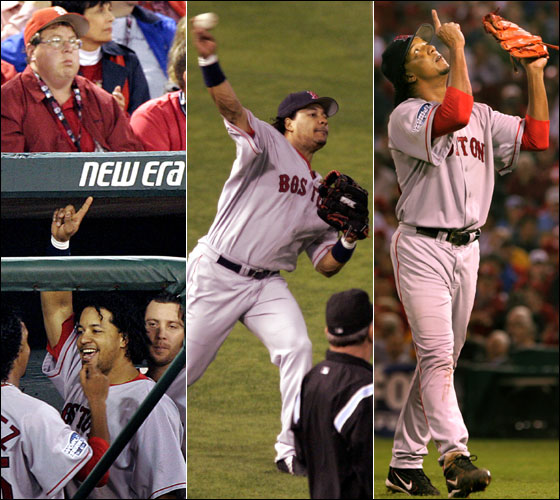 Pedro Martinez appears to be mocking the sullen Cardinals fan above him, Manny throws out Larry Walker at home, Pedro points to the sky after the seventh inning