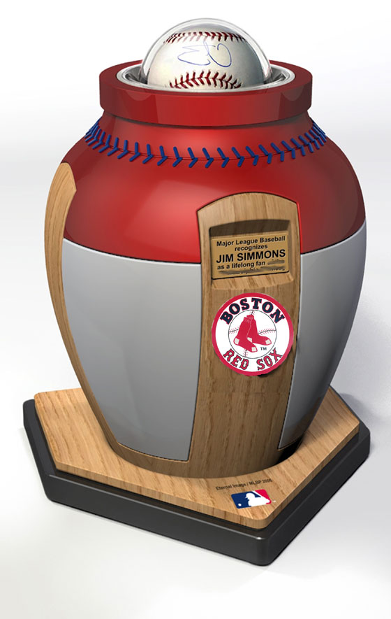 Major League Baseball has entered into a licensing agreement with Eternal Image, which hopes to eventually make urns and caskets with for all 30 baseball teams. Eternal Image says urns for six teams, the New York Yankees, Boston Red Sox, Detroit Tigers, Philadelphia Phillies, Chicago Cubs and Los Angeles Dodgers,  should be available by Opening Day 2007, and caskets for those teams should be ready later in the year.