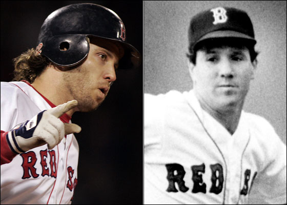 11.4.86: Marty Barrett at Fenway, 10.23.04: Mark Bellhorn signals as he rounds first on his game winning two run shot.