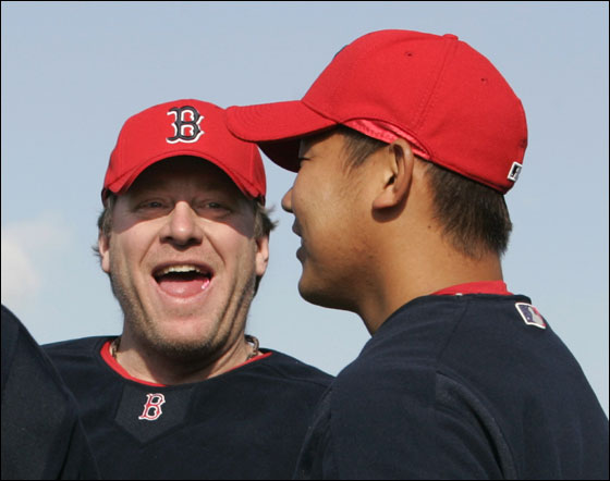 Red Sox pitchers Curt Schilling  and Daisuke Matsuzaka of Japan share a laugh in Fort Myers