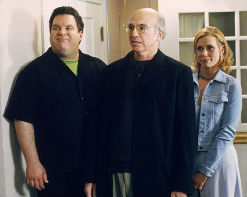 CURB YOUR ENTHUSIASM -- HBO Series -- Pictured, from left, Jeff Garlin, Larry David and Cheryl Hines.