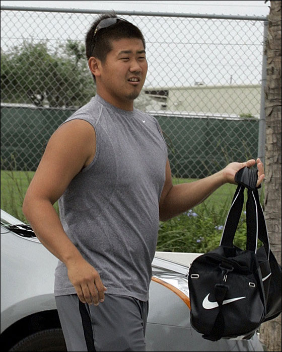 Red Sox pitcher Daisuke Matsuzaka arrives at Red Sox Minor League Complex to work out before spring training camp starts officially in Fort Myers Tuesday, Feb., 13, 2007