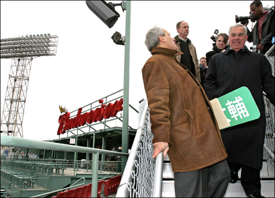 Red Sox president Larry Lucchino and Mayor Thomas Menino toured Conigliaro's Corner, new affordable roof top seats at Fenway Park, Wednesday, April 4, 2007.