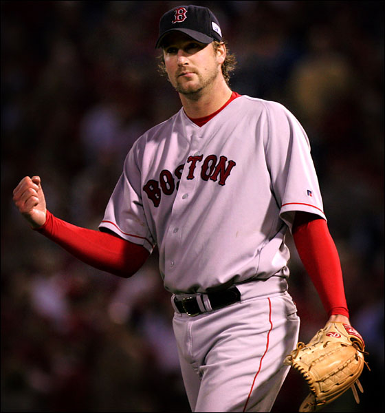 Derek Lowe was pumped up after getting out of a jam late in Game 4