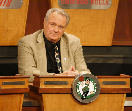 Tom Heinsohn of the Boston Celtics gets the number five pick during the 2007 NBA Draft Lottery on May 22, 2007 at the NBATV Studios in Secaucus, New Jersey.