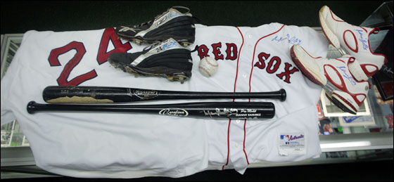 Red Sox slugger Manny Ramirez memorabilia on display at the new SportsWorld store on Route One in Saugus