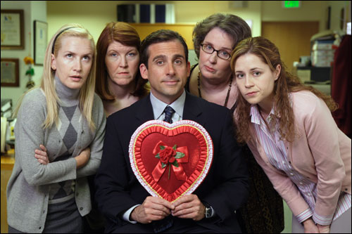The Office - Pictured: (l-r) Angela Kinsey as Angela, Kate Flannery as Meredith, Steve Carell as Michael Scott, Phyllis Smith as Phyllis, Jenna Fischer as Pam Beesley