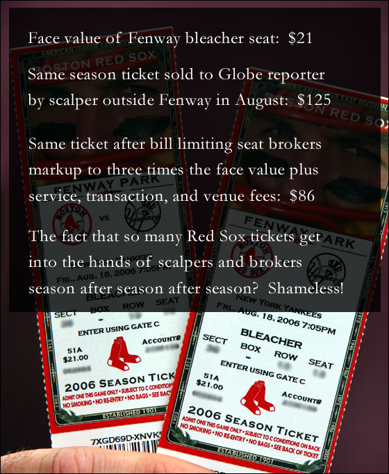 08/18/2006 Tickets bought by a Boston Globe reporter from a scalper in Kenmore Square for $125.00 a piece, with a face value of $21.00., for the Red Sox vs. Yankees day game on Friday (8/18).