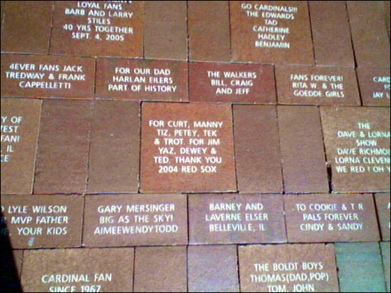 Red Sox tribute brick at Busch Stadium
