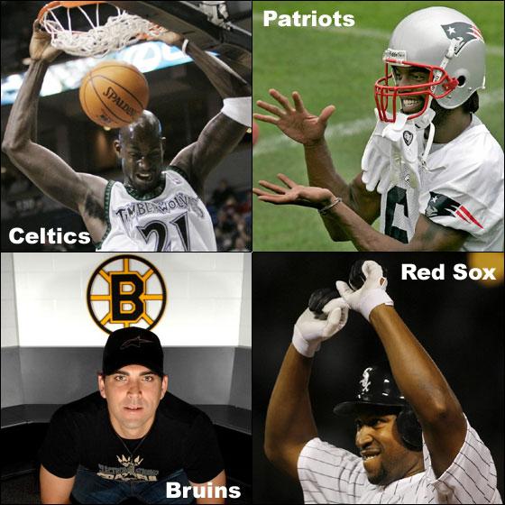 Celtics - Kevin Garnett, Patriots - Randy Moss, Bruins - Manny Fernandez, Red Sox - Jermaine Dye