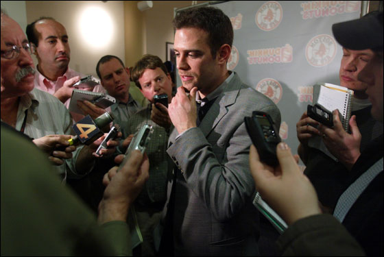 Boston, MA  12-17-04: Boston Red Sox Senior Vice President/General Manager Theo Epstein answers questions concerning the look of next years club as well as issues concerning the departure of Pedro Martinez following a press conference where new shortstop Edgar Renteria was introduced to the media at Fenway Park after he agreed to terms to a four year deal with the club.