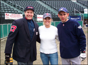 Shonda Schilling with Walter Bentson and Brett Rudy (Event Coordinator from Boston Men�s Baseball League)