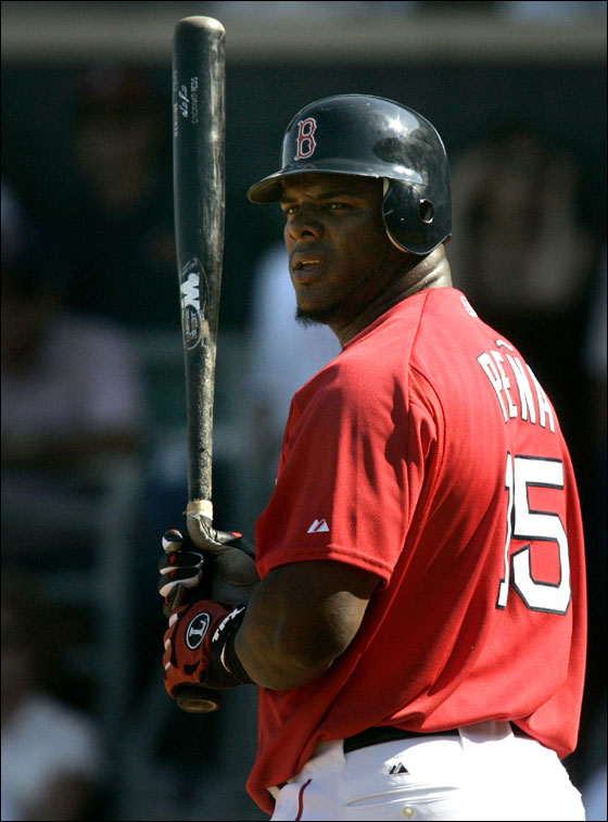 Red Sox' Wily Mo Pena steps into the batter's box for his first at-bat for the team in the seventh inning against the Tampa Bay Devil Rays during their spring training baseball game in Fort Myers, Fla., Tuesday March 21, 2006. Pena, who was traded by the Cincinnati Reds for pitcher Bronson Arroyo, singled.