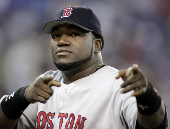 David Ortiz points to cheering fans following Boston's 5-3 victory over the Toronto Blue Jays at the end of American League play in Toronto September 14, 2005. Ortiz hit a two-run game winning homer in the eighth.