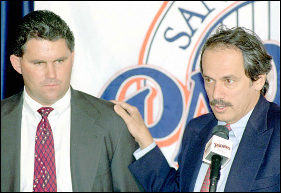 San Diego Padres club president Larry Lucchino, right, fields a reporter's question as he introduces new general manager Kevin Towers, left, at a news conference Friday, Nov. 17, 1995, at San Diego's Jack Murphy Stadium. Towers, 34, was promoted to General Manager from Director of Scouting.