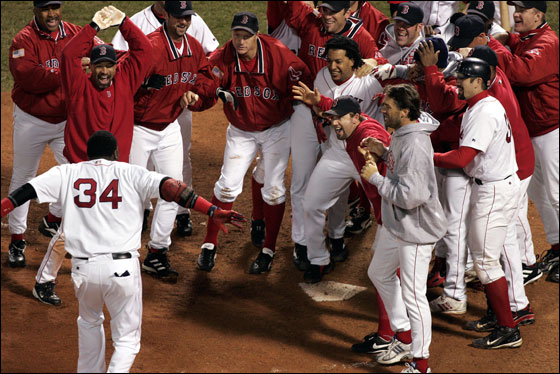 David Ortiz' homer wins Game 4 in the 12th inning of the 2004 ALCS against the Yankees at Fenway Park.
