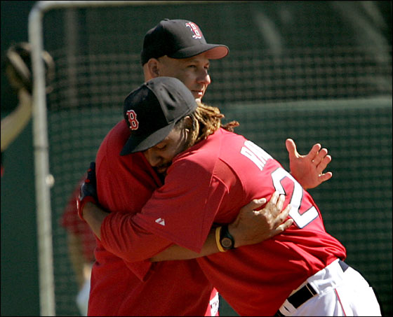 Boston Red Sox vs Pittsburgh Pirates at City of Palms Park - Manager Terry Francona and Manny Ramirez get together prior to the start of Saturday's game when Manny was working out.