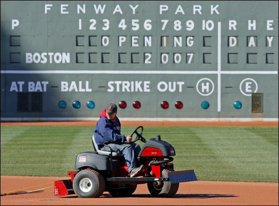 Workers were out in force this afternoon getting Fenway Park ready for Tuesday afternoon's Opening Day game vs. the Seattle Mariners.