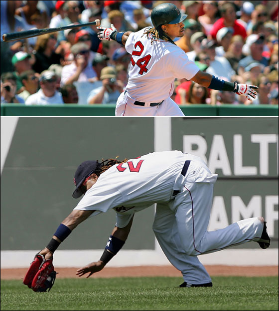 Top - The only swing that mattered today. Red Sox leftfielder Manny Ramirez lets go off his bat (Sox-Royals 1A) as he watches the flight of his bottom of the fourth inning solo home run that sailed over the Green Monster. The blast was the only run of the game, as Boston defeated the Kansas City Royals 1-0 for the second consecutive game at Fenway Park.Bottom - Manny Ramirez bends low to snag a line drive by Kansas City Royals Paul Phillips during the fifth inning