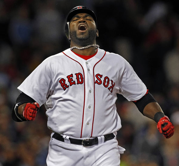 Red Sox DH David Ortiz howls in disbelief after he scalded a shot to leftfield with two on and two out in the bottom of the eighth inning, but it was caught to end the inning and the Boton threat.