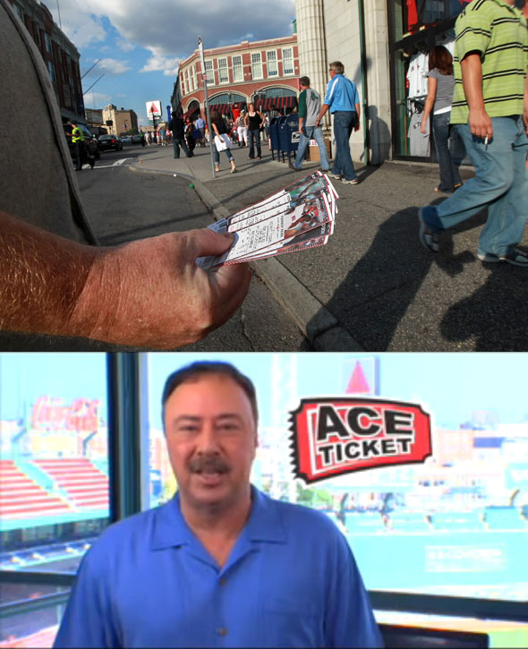 Rich, last name withheld, holds tickets for sale to the Boston Red Sox vs. the Detroit Tigers game at the corner of Yawkey Way and Brookline Ave. Jerry Remy pitches aftermarket tickets for Ace Tickets