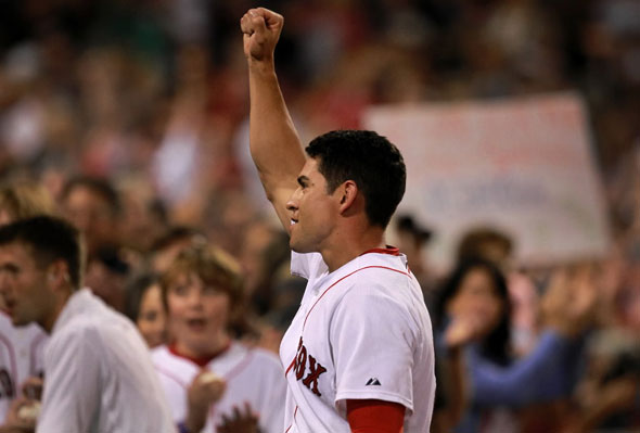 Ellsbury acknowledges the fans after he hit a walk off home run for the 4-3 victory over the Cleveland Indians.