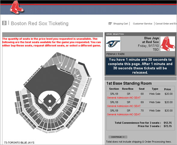 Standing room only tickets in September, really?