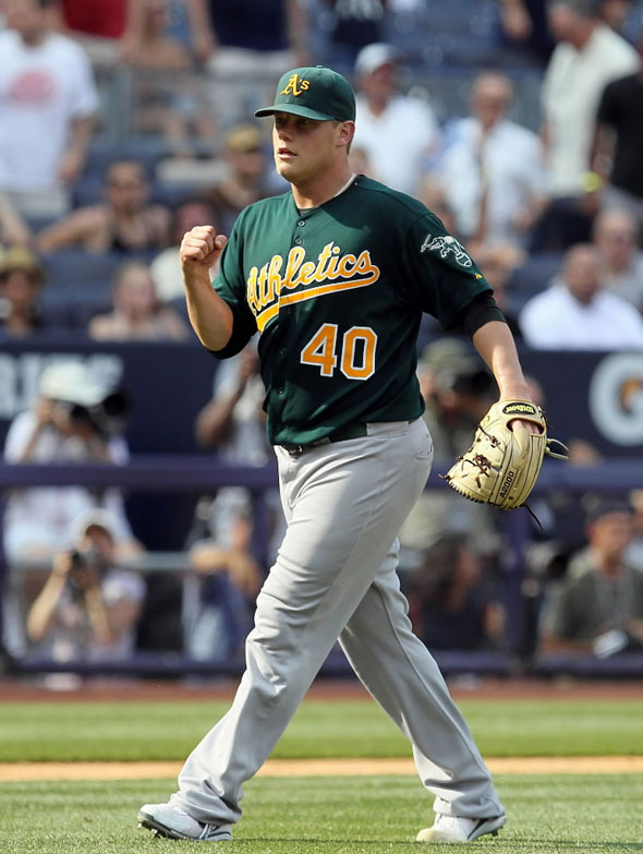 Andrew Bailey of the Oakland Athletics celebrates after defeating the New York Yankees on July 23, 2011 at Yankee Stadium in the Bronx borough of New York City.