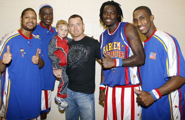 J.D. Drew at the Harlem Globetrotters game from Wed, Feb 24 in Fort Myers.