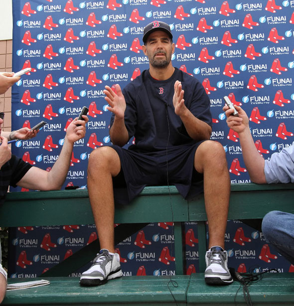 Mike Lowell addresses the press