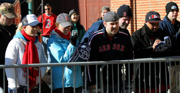 Red Sox fans come out to see the equipment truck